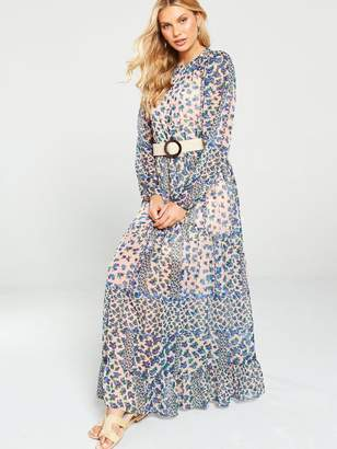 Very Tierred Maxi Dress -Blue/Floral