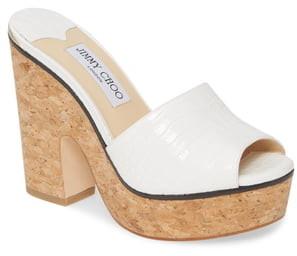 Jimmy Choo Deedee Croc Embossed Wedge Sandal