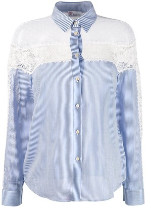 RED Valentino Lace Panels Striped Shirt