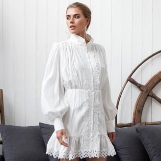 Jovonna London White Leone Lace Dress - medium
