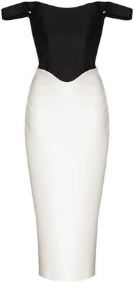 Rasario Off-Shoulder Two-Tone Dress