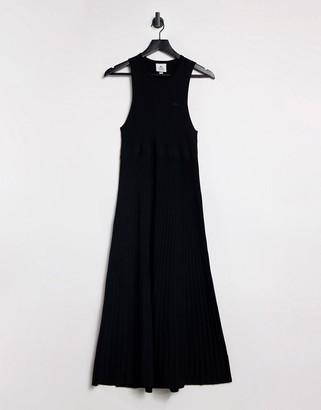 Lacoste racer back midi dress in black