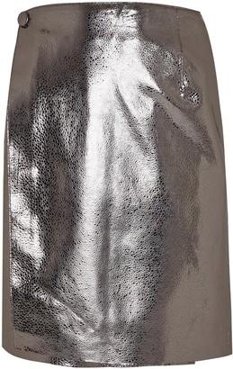 Manley Parker Metallic Leather Skirt Silver