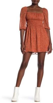 Rowa ROW A Smocked Waist Elbow Sleeve Print Dress