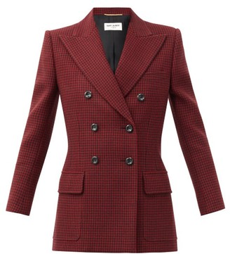 Saint Laurent Double-breasted Houndstooth-wool Jacket - Red