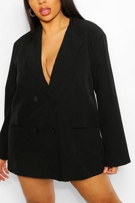 boohoo Plus Woven Oversized Pocket Blazer Dress