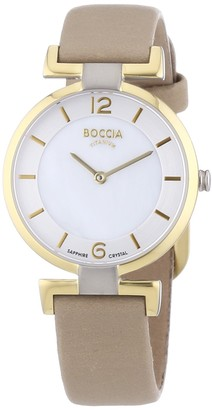 Boccia Women's Quartz Watch with Mother of Pearl Dial Analogue Display and Beige Leather Strap B3238-02