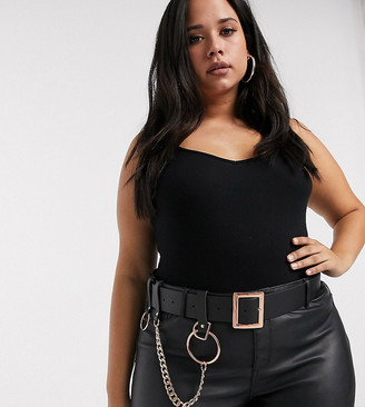 ASOS DESIGN Curve chain and ring waist belt in rose gold