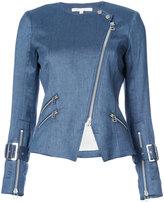 Veronica Beard zipped denim biker jacket - women - Linen/Flax/Spandex/Elastane/Acetate/Viscose - 2