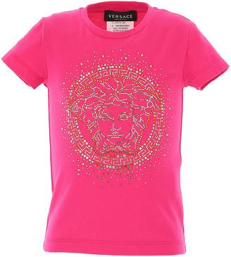 Versace Kids' Short-Sleeve T-Shirt with Rhinestone Gold Medusa, Size 8-14