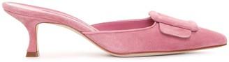 Manolo Blahnik Maysale pink suede mules