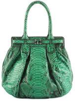 Zagliani NEW Green Python Snakeskin Silver Tone Twist Lock Pleated Handbag