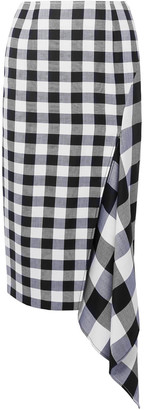 Monse Asymmetric Gingham Wool And Cotton-blend Midi Skirt