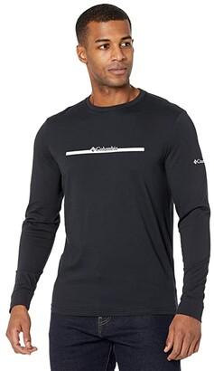 Columbia Lodgetm Long Sleeve Graphic Tee (Black/CSC Bar Split) Men's Clothing