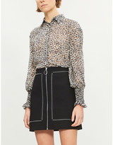 Pinko Ladies Panna Nero Brown and Cream Alberto Leopard-Print Devore Shirt, Size: 10