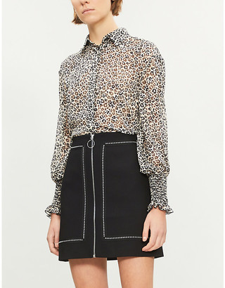 Pinko Ladies Panna Nero Brown and Cream Alberto Leopard-Print Devoré Shirt