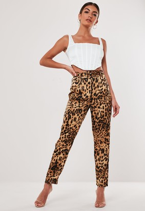 Missguided Stassie X Brown Leopard Print Co Ord Satin Cigarette Trousers