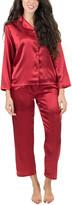 Leveret Women's Sleep Bottoms - Red Satin Pajama Set - Women
