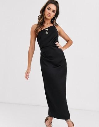 Bec & Bridge mila asymmetric midi dress-Black