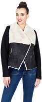 Betsey Johnson Aviator Faux Shearling Jacket With Corset Back