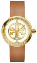 Tory Burch Reva Logo Dial Leather Strap Watch