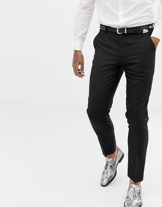 Asos Design DESIGN skinny tuxedo suit trousers in black