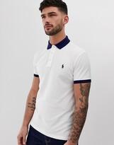 Polo Ralph Lauren player logo pique polo contrast collar/cuff custom regular fit in white