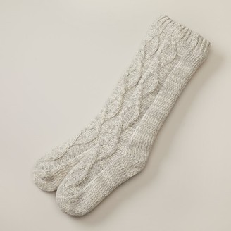 Indigo Chenille Twisted Cable Reading Socks Grey