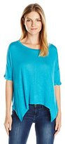 Tresics Women's Round Neck Asymmetrical Top with 3/4 Rolled Sleeve