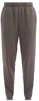 LES TIEN Brushed-back Cotton Track Pants - Dark Grey