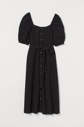H&M Creped Cotton Dress - Black