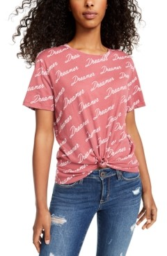 Rebellious One Juniors' Dreamer Knot-Front Graphic T-Shirt