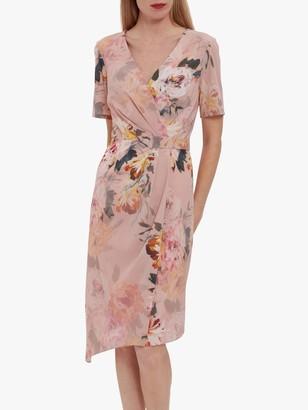 Gina Bacconi Halina Floral Print Warp Midi Dress, Rose Pink