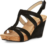 Taryn Rose Trini Nubuck Wedge Sandal, Black