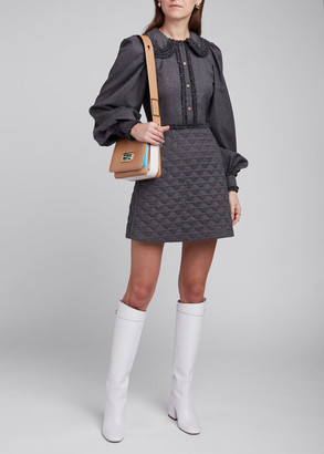 Fendi Ruffled Peter Pan Collar Lightweight Flannel Shirtdress