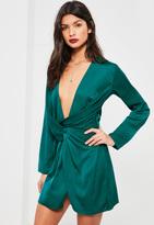 Missguided Green Satin Wrap Mini Dress