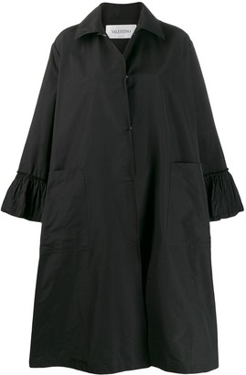 Valentino Ruffle Detail Oversized Coat