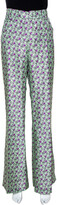Thumbnail for your product : Roberto Cavalli Pastel Green Floral Printed Silk Wide Leg Trousers L