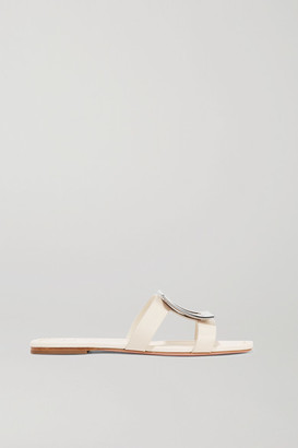 Roger Vivier Biki Viv Embellished Leather Slides - Cream