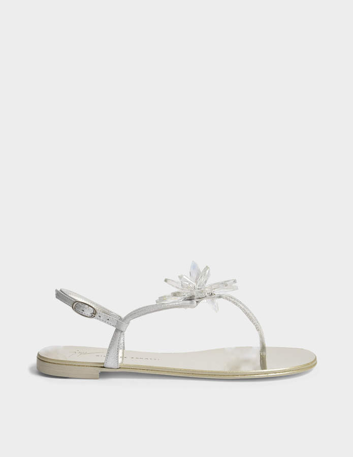 Giuseppe Zanotti Crystal Flat Shoes in Silver Leather