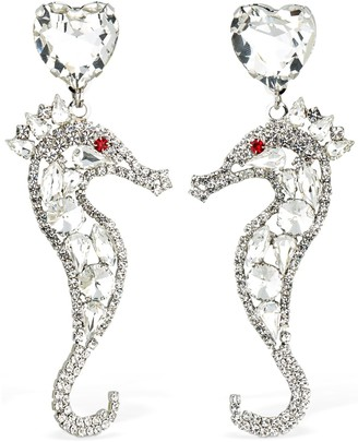 Alessandra Rich Seahorse Crystal Clip-On Earrings