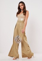 Missguided Petite Stone Pleat Wide Leg Belted Pants