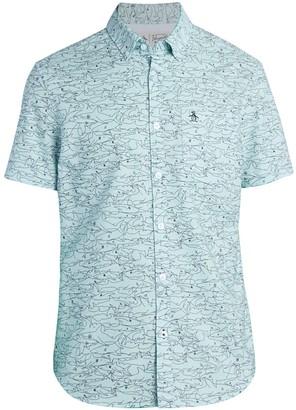 Original Penguin Shark-Print Short-Sleeve Shirt