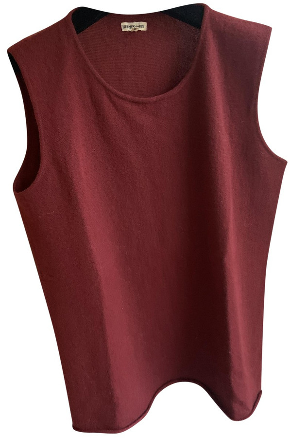 Hermes Red Cashmere Tops