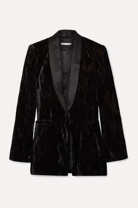 Alice + Olivia Lola Satin-trimmed Crushed-velvet Blazer - Black