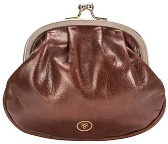 Maxwell Scott Bags Maxwell Scott Womens Italian Leather Ball Clasp Purse - Sabina Tan
