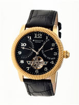 Heritor Automatic Piccard Mens Semi-Skeleton Leather Date-Gold/Black Watches