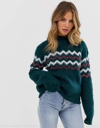 Pieces long sleeve knit jumper-Green