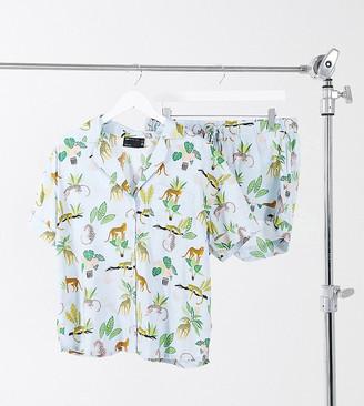 ASOS DESIGN Maternity botanical cheetah 100% modal shirt and short pyjama set in blue