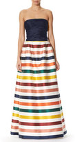 Carolina Herrera Striped Strapless Bustier Gown, Multi Stripe